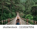 happy travel woman on vacation...   Shutterstock . vector #1110267056