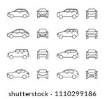 cars front and side view line... | Shutterstock .eps vector #1110299186