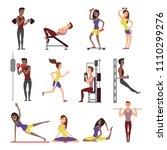 fitness people vector cartoon... | Shutterstock .eps vector #1110299276