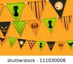 halloween bunting on an orange... | Shutterstock .eps vector #111030008