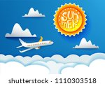 airplane aerial view paper art... | Shutterstock . vector #1110303518