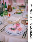 table setting at a luxury... | Shutterstock . vector #1110307262