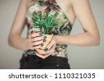 woman hands holding succulent... | Shutterstock . vector #1110321035