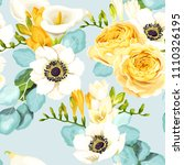 seamless pattern with calla and ... | Shutterstock .eps vector #1110326195