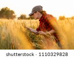 a woman farmer examines the... | Shutterstock . vector #1110329828