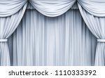 white stage curtain . 3d... | Shutterstock . vector #1110333392