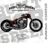 vintage chopper motorcycle... | Shutterstock .eps vector #1110335135