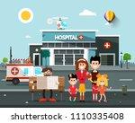happy family in front of... | Shutterstock .eps vector #1110335408