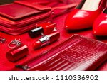 red woman accessories  jewelry  ... | Shutterstock . vector #1110336902