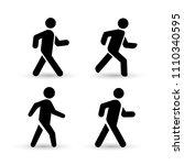 set of walking man icon. flat... | Shutterstock .eps vector #1110340595