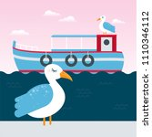 cute seagull at the seaside at... | Shutterstock .eps vector #1110346112