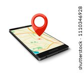 black smartphone with map gps... | Shutterstock .eps vector #1110346928