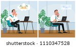 office worker dreaming about... | Shutterstock .eps vector #1110347528