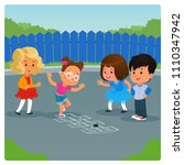 kids playing hopscotch game... | Shutterstock .eps vector #1110347942