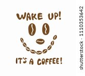 funny brown coffee bean face... | Shutterstock .eps vector #1110353642