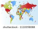color world map vector | Shutterstock .eps vector #1110358088