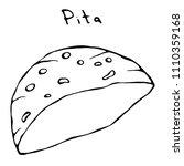 pita pocket bread. arabic... | Shutterstock .eps vector #1110359168