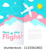 traveling by plane. airplane in ... | Shutterstock .eps vector #1110361802
