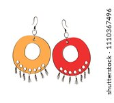 a pair of indian earrings.... | Shutterstock .eps vector #1110367496