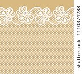 flower lace border on beige... | Shutterstock .eps vector #1110374288