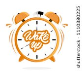 alarm clock with wake up text... | Shutterstock .eps vector #1110380225