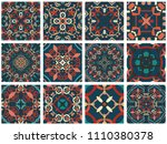 vector tiles patterns. seamless ... | Shutterstock .eps vector #1110380378