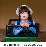 beautiful little brunet hair... | Shutterstock . vector #1110387032