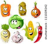 funny vegetable and spice... | Shutterstock .eps vector #111039242