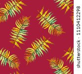 tropical leaves watercolor... | Shutterstock . vector #1110412298