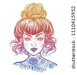 inked woman portrait with... | Shutterstock .eps vector #1110415952