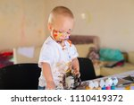 beautiful little blonde boy ... | Shutterstock . vector #1110419372