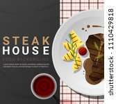 grilled beef  t bone steak and... | Shutterstock .eps vector #1110429818