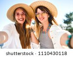 two pretty best friends girls... | Shutterstock . vector #1110430118