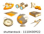 Vector monochrome symbols of exploration and geography. Equipment geography, sextant and compass, teaching technology astronomy illustration