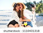 two pretty funny sister girls... | Shutterstock . vector #1110431318