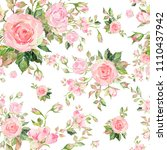 Stock photo watercolor seamless pattern of roses with buds pattern for fabric and wallpaper for design and 1110437942
