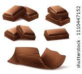 vector 3d realistic chocolate...   Shutterstock .eps vector #1110447152