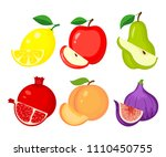 set of different fruits. lemon  ... | Shutterstock .eps vector #1110450755