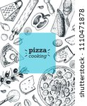 italian pizza cooking and... | Shutterstock .eps vector #1110471878