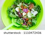 fresh mixed salad with... | Shutterstock . vector #1110472436