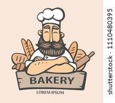 bakery logo. hand drawn vector... | Shutterstock .eps vector #1110480395
