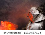 a man in a protective suit near ...   Shutterstock . vector #1110487175