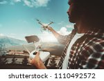 wide angle shot of a bearded... | Shutterstock . vector #1110492572