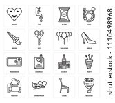 set of 16 icons such as bouquet ...