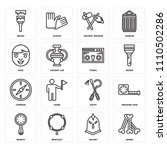 set of 16 icons such as bones ...