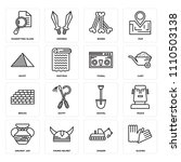 set of 16 icons such as gloves  ...