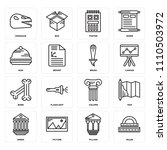 set of 16 icons such as ruler ...