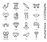 set of 16 icons such as key ...