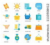 set of 16 icons such as open ...