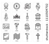 set of 16 icons such as egypt ...
